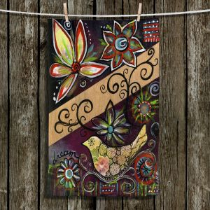 Unique Hanging Tea Towels | Ann Marie Cheung - Dream | Flower abstract collage nature dark whimsical