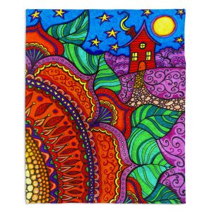 Artistic Sherpa Pile Blankets | Ann Marie Cheung - Evening Posy | Mandala flower pattern vibrant