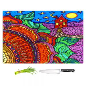 Artistic Kitchen Bar Cutting Boards | Ann Marie Cheung - Evening Posy | Mandala flower pattern vibrant