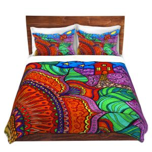 Artistic Duvet Covers and Shams Bedding | Ann Marie Cheung - Evening Posy | Mandala flower pattern vibrant