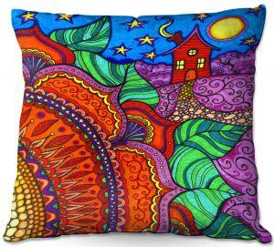 Throw Pillows Decorative Artistic | Ann Marie Cheung - Evening Posy | Mandala flower pattern vibrant