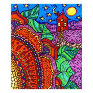 Decorative Wood Plank Wall Art | Ann Marie Cheung - Evening Posy | Mandala flower pattern vibrant