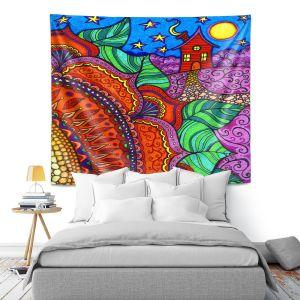 Artistic Wall Tapestry | Ann Marie Cheung - Evening Posy | Mandala flower pattern vibrant