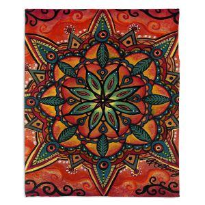 Decorative Fleece Throw Blankets | Ann Marie Cheung - Fiery Mandala 2 | Pattern repetition spiritual