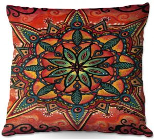 Throw Pillows Decorative Artistic | Ann Marie Cheung - Fiery Mandala 2 | Pattern repetition spiritual