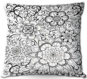 Decorative Outdoor Patio Pillow Cushion | Ann Marie Cheung - Floral Mandalas | Pattern repetition spiritual