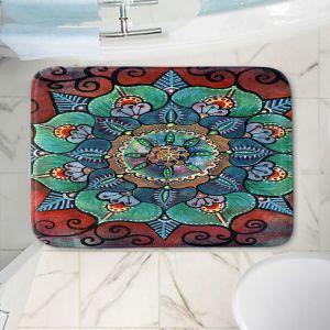 Decorative Bathroom Mats | Ann Marie Cheung - Green Mandala 2 | Pattern repetition floral spiritual dark