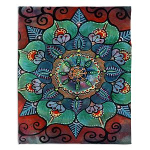 Decorative Fleece Throw Blankets | Ann Marie Cheung - Green Mandala 2 | Pattern repetition floral spiritual dark