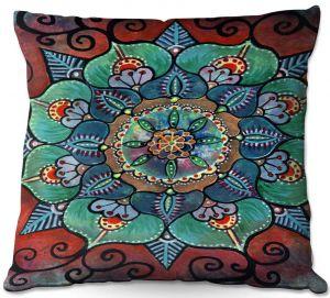 Decorative Outdoor Patio Pillow Cushion | Ann Marie Cheung - Green Mandala 2 | Pattern repetition floral spiritual dark