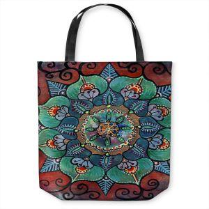 Unique Shoulder Bag Tote Bags | Ann Marie Cheung - Green Mandala 2 | Pattern repetition floral spiritual dark