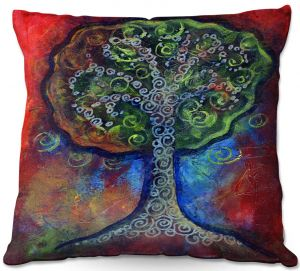 Decorative Outdoor Patio Pillow Cushion | Ann Marie Cheung - Green Tree | nature outdoors