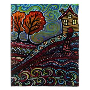 Decorative Fleece Throw Blankets | Ann Marie Cheung - Happy House | hills trees home