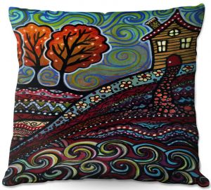 Throw Pillows Decorative Artistic | Ann Marie Cheung - Happy House | hills trees home