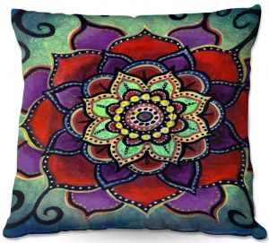 Throw Pillows Decorative Artistic   Ann Marie Cheung - Lotus Mandala 2   Flower pattern spiritual