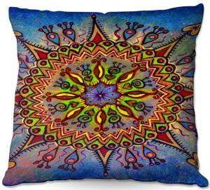 Decorative Outdoor Patio Pillow Cushion | Ann Marie Cheung - Mandala 1 | Pattern star spiritual