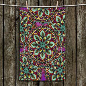 Unique Hanging Tea Towels | Ann-Marie Cheung - Mandala Magic 02 | Geometric Nature Flower