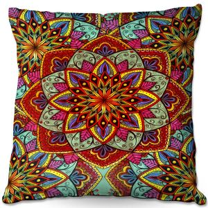 Decorative Outdoor Patio Pillow Cushion | Ann-Marie Cheung - Mandala Magic 03 | Geometric Nature Flowers