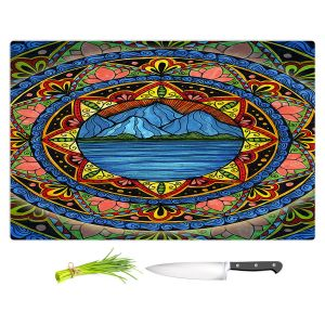 Artistic Kitchen Bar Cutting Boards   Ann-Marie Cheung - Mountains   Geometric Landscape Nature