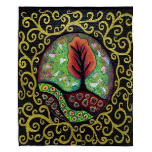 Decorative Fleece Throw Blankets | Ann Marie Cheung - Orange Tree | frame pattern nature outdoor