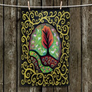 Unique Hanging Tea Towels | Ann Marie Cheung - Orange Tree | frame pattern nature outdoor