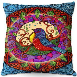 Decorative Outdoor Patio Pillow Cushion | Ann-Marie Cheung - Pretty Bird | Geometric Bird Nature Leaves