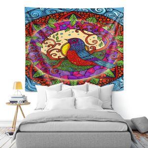 Artistic Wall Tapestry   Ann-Marie Cheung - Pretty Bird   Geometric Bird Nature Leaves