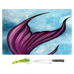 Artistic Kitchen Bar Cutting Boards | Ann Marie Cheung - Purple Tail | Water fish nature ocean sea mermaid