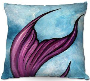 Decorative Outdoor Patio Pillow Cushion   Ann Marie Cheung - Purple Tail   Water fish nature ocean sea mermaid