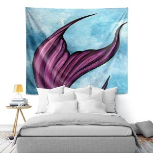 Artistic Wall Tapestry | Ann Marie Cheung - Purple Tail | Water fish nature ocean sea mermaid