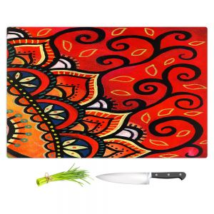Artistic Kitchen Bar Cutting Boards | Ann Marie Cheung - Red Sunburst | Mandala flower pattern vibrant