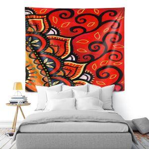 Artistic Wall Tapestry | Ann Marie Cheung - Red Sunburst | Mandala flower pattern vibrant