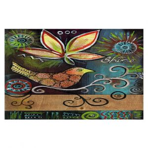 Decorative Floor Covering Mats | Ann Marie Cheung - Shine | Flower bird leaves branch whimsical dark