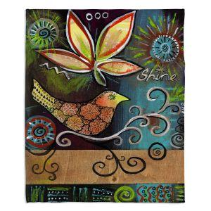 Decorative Fleece Throw Blankets   Ann Marie Cheung - Shine   Flower bird leaves branch whimsical dark