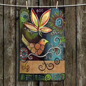 Unique Hanging Tea Towels | Ann Marie Cheung - Shine | Flower bird leaves branch whimsical dark