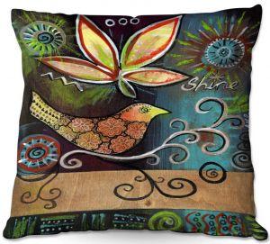 Decorative Outdoor Patio Pillow Cushion   Ann Marie Cheung - Shine   Flower bird leaves branch whimsical dark
