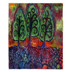 Decorative Fleece Throw Blankets | Ann Marie Cheung - Three Sisters | Tree nature field