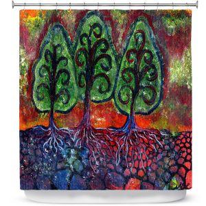 Premium Shower Curtains | Ann Marie Cheung - Three Sisters | Tree nature field