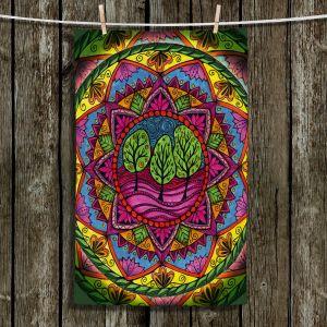 Unique Hanging Tea Towels | Ann-Marie Cheung - Trees Mandala | Geometric Nature Forest Trees
