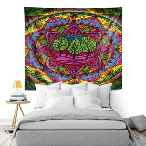 Artistic Wall Tapestry   Ann-Marie Cheung - Trees Mandala   Geometric Nature Forest Trees
