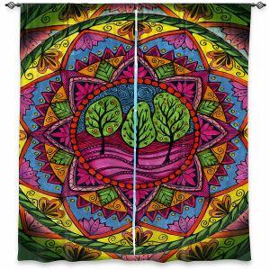 Decorative Window Treatments | Ann-Marie Cheung - Trees Mandala | Geometric Nature Forest Trees