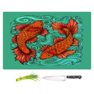 Artistic Kitchen Bar Cutting Boards | Ann Marie Cheung - Two Fish | water nature river ocean