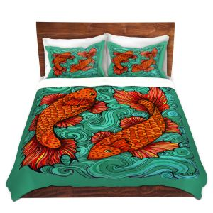Artistic Duvet Covers and Shams Bedding | Ann Marie Cheung - Two Fish | water nature river ocean