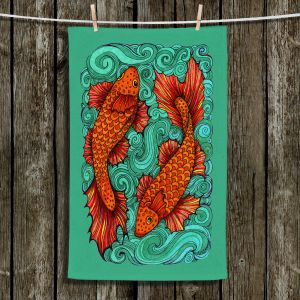Unique Bathroom Towels | Ann Marie Cheung - Two Fish | water nature river ocean