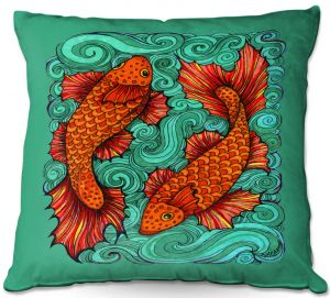 Decorative Outdoor Patio Pillow Cushion | Ann Marie Cheung - Two Fish | water nature river ocean