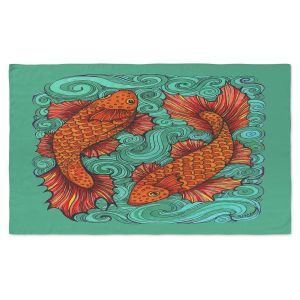 Artistic Pashmina Scarf | Ann-Marie Cheung - Two Fish | water nature river ocean