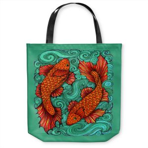 Unique Shoulder Bag Tote Bags | Ann Marie Cheung - Two Fish | water nature river ocean