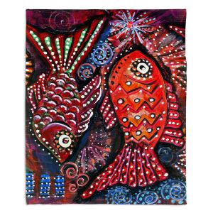 Decorative Fleece Throw Blankets | Ann Marie Cheung - Two Funky Fish | nature