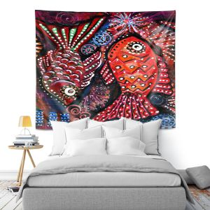 Artistic Wall Tapestry | Ann Marie Cheung - Two Funky Fish | nature