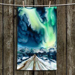 Unique Hanging Tea Towels   Brazen Design Studio - Aurora Borealis   Nature Sky Landscape Night Northern Lights