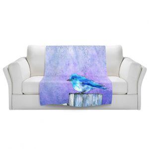 Unique Blanket Fleece Medium from DiaNoche Designs by Brazen Design Studio - Bluebird Bliss